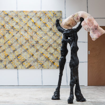 Lipid. 2018. Plaster, wadding, chicken wire, hessian, gloss spray paint, polyester, make-up. 1.96 x 1.29 x 0.52m.